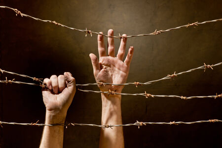 hands  behind barbed wire photo
