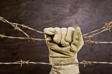 barbed: old rusty barbed wire with hand