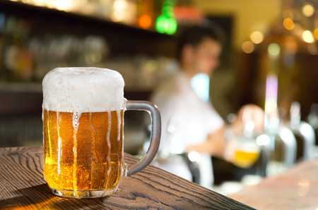 glass of beer in the pub  Stock Photo