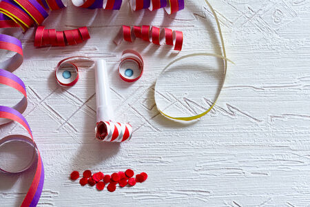 man face: a man face from colored carnivals decoration Stock Photo
