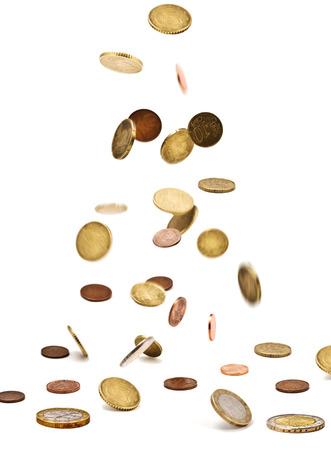 monedas antiguas: Monedas de euro aislados en el fondo blanco