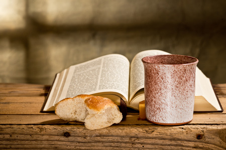 last supper:  Bible chalice and bread