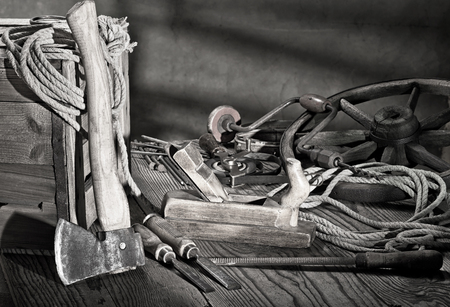 still life with plane and old tools photo
