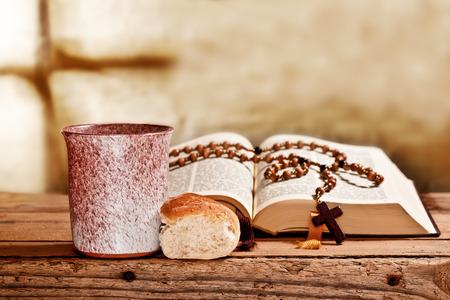 bible and prayer beads photo