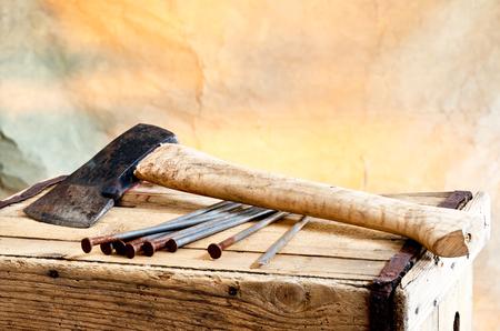hatchet:  old hatchet and nails