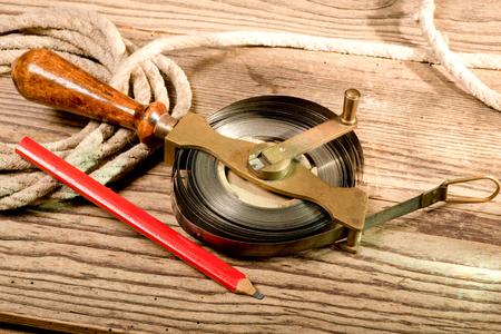 wooden metre:  tape measure Stock Photo
