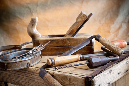 still life with nails rasp and old tools Stock Photo