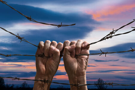 hands behind barbed wire with sunset in the background photo