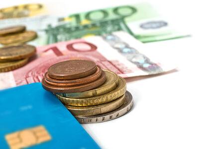 debit card: still life with debit card and euro bills