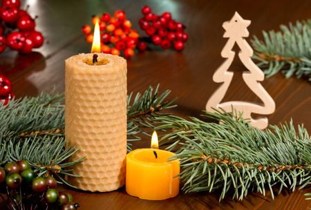 candles and Christrmas decoration photo