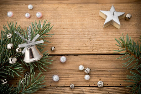 featureless: christmas tree and silver decoration Stock Photo