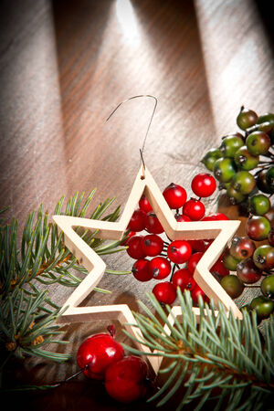 Christmas star and decoration photo