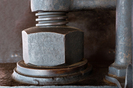 worm gear: detail of a old used rusty screw Stock Photo