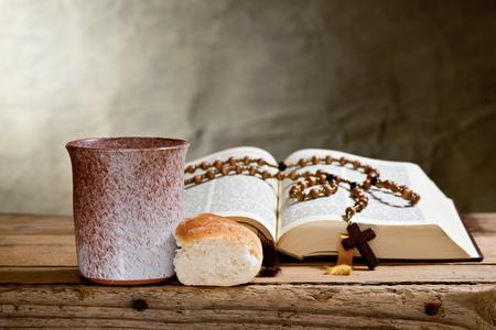 bible and prayer beads photo