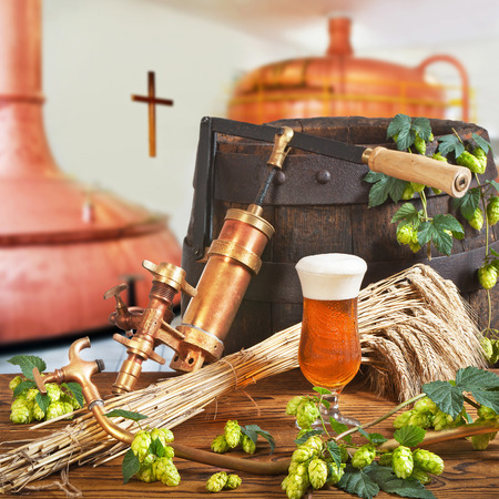 hop hops: glass of beer with hops in the brewery Stock Photo