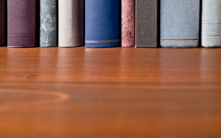a detail of books in the bookshelf Standard-Bild
