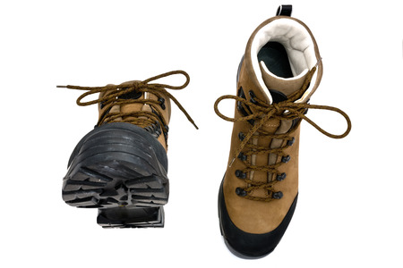 outsole: pair of boots isolated on the white background