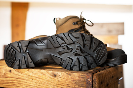 walking boots: detail of walking boots with grip sole