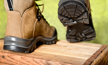 detail of walking boots with grip sole photo