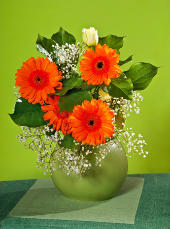 gillyflower: a bouquet of flowers in the vase Stock Photo