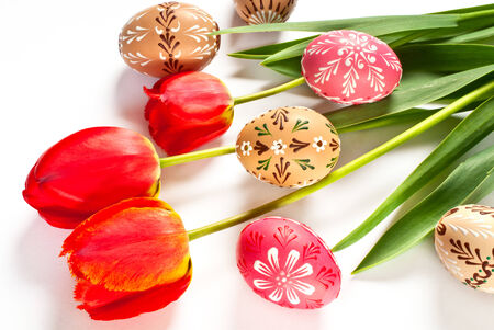Easter eggs and tulips photo