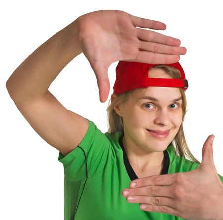 unruly: girl making grimace  on the white background Stock Photo