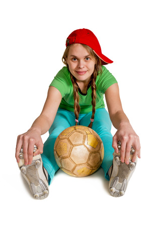 be dressed in: sportswoman with ball on the white background