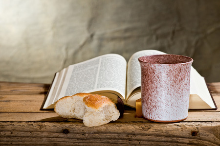 chalice bread: still life with Bible chalice and bread