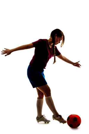a soccer girl isolated on the white background photo