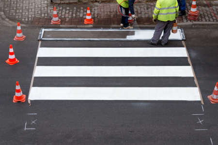 pedestrian crossing: making of a new pedestrian crossing on the road