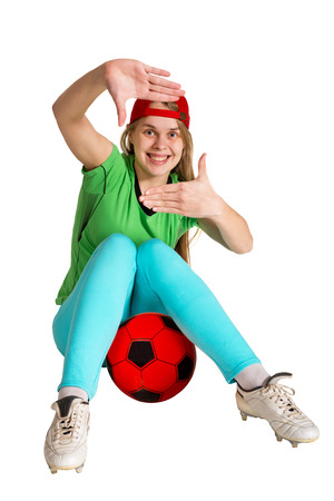 sportswoman: sportswoman with ball on the white background