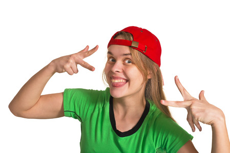 sneer: girl making grimace  on the white background Stock Photo