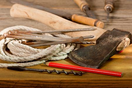 Ņhatchet: old hatchet and hand tools