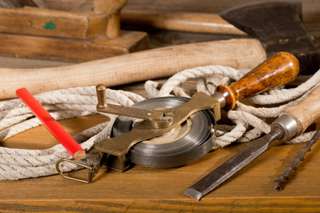 wooden metre: tepe measure and old tools Stock Photo