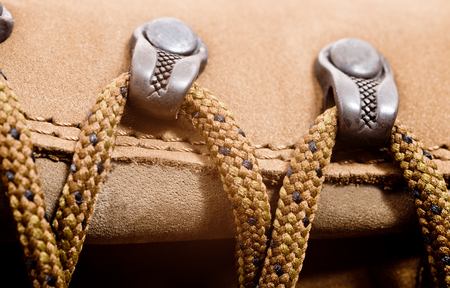 walking boots: a detail of walking boots with bootlace Stock Photo