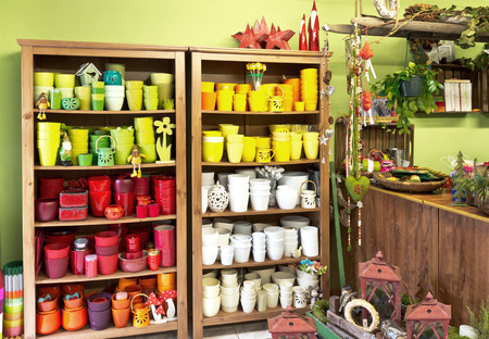 interior of florist shop with new caly pots