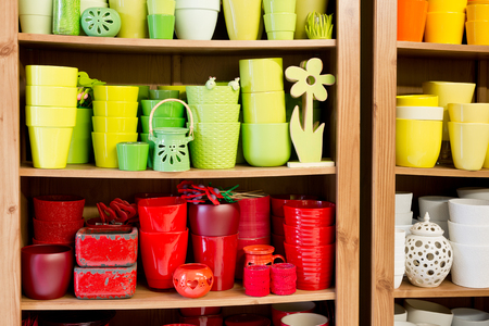 flowerpots: new ceramic flowerpots in the florist store
