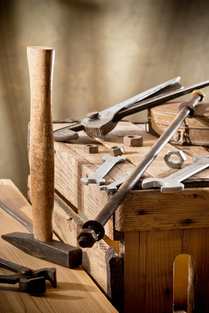 workroom: still life with old tools in the workroom Stock Photo