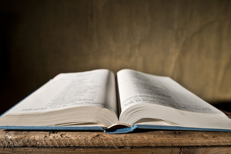 depth of field: open bible on the desk, shallow depth of field Stock Photo