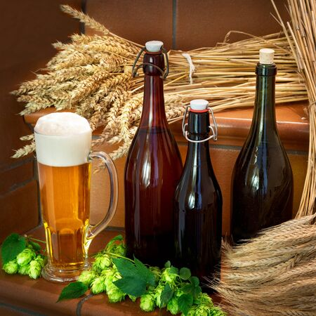 beer production: still life with bottles and raw material for beer production Stock Photo