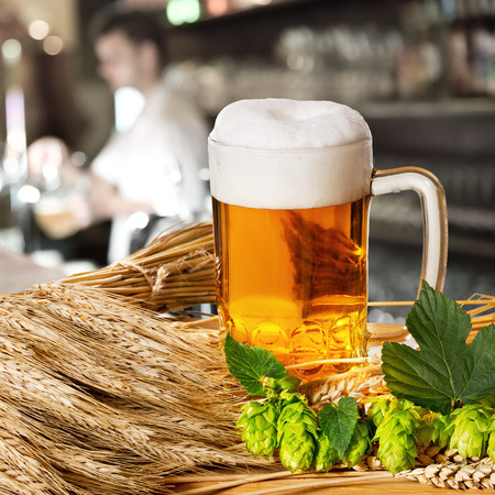 beerhouse: Beer and hops and barley in the pub Stock Photo
