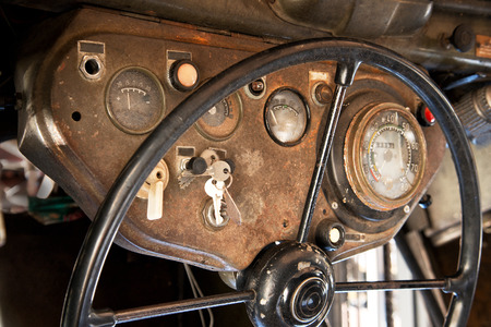 dialplate: steering wheel and dashboard  of old truck Stock Photo