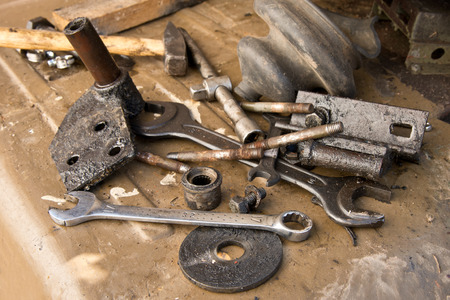 workroom: old used tools in the a workroom