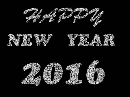 hapy: writing Happy New Year 2016, black and white