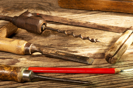gimlet: still life with old tools in the workroom Stock Photo