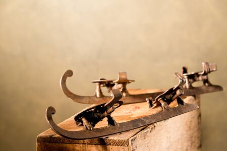 ice skate: still life with old skates out of fashion Stock Photo