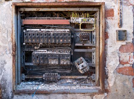 a detail of old broken circuit breakers Stok Fotoğraf