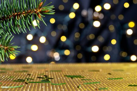 christmas tree branch: Christmas background with needles and color lights