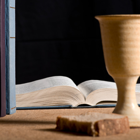 chalice: stilllife with chalice of wine and bible