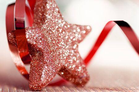 estrellas de navidad: Estrella de la Navidad con una cinta Foto de archivo